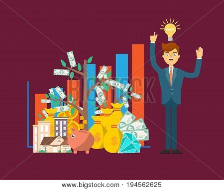Financial investment concept with businessman. Smart investment opportunity in securities, real estate or bank deposit. Business people banner, idea generation, finance savings vector illustration