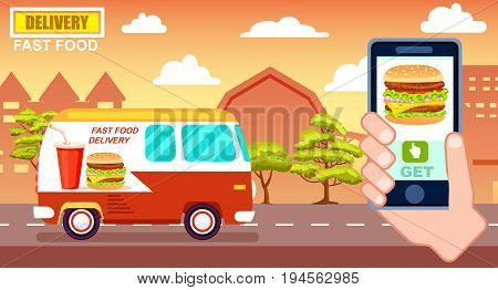 Fast food delivery poster with commercial van. Online ordering food at home, product shipping advertising vector illustration. Restaurant food express delivery banner with smartphone in human hand