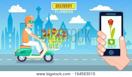 Flower delivery poster with courier on scooter. Online ordering, commercial shipping advertising, botany business vector illustration. Express delivery service banner with phone in human hand.