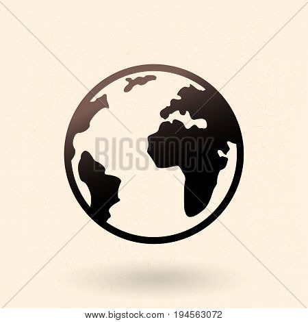 Vector Single Black Basic Icon - Planet Earth