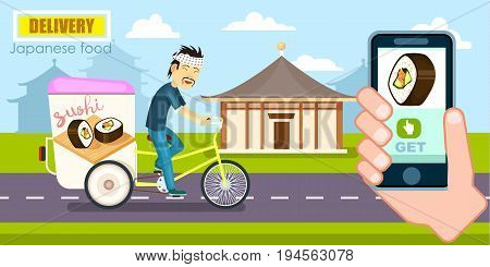 Japanese food delivery poster with courier on bicycle. Online ordering food, product shipping vector illustration. Restaurant food express delivery banner with smartphone in human hand