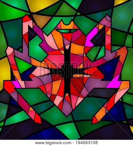 background variation vwth abstract image of colored red spider consisting of lines