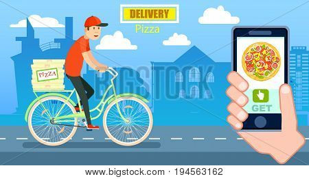Italian pizza delivery poster with courier on bicycle. Online ordering food at home, product shipping vector illustration. Restaurant food express delivery banner with smartphone in human hand