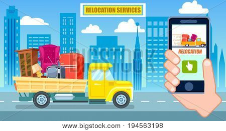 Relocation service poster with freight truck. Commercial shipping advertising, transportation company, online ordering vector illustration. City moving service banner with phone in human hand.