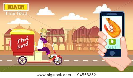 Thai fast food delivery poster with courier. Online ordering food at home, commercial shipping advertising vector illustration. Restaurant express delivery service banner with smartphone in human hand