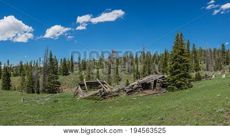 Broken Remains Of Log Cabin