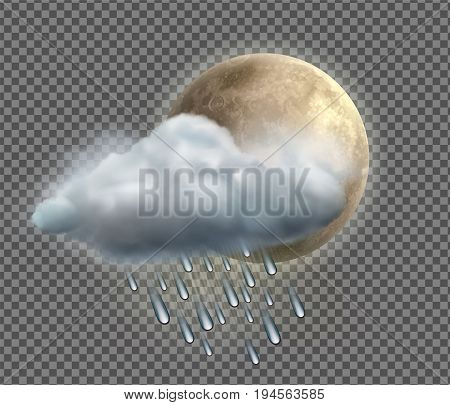 Vector illustration of cool single weather icon with night moon raincloud and raindrops on transparent background