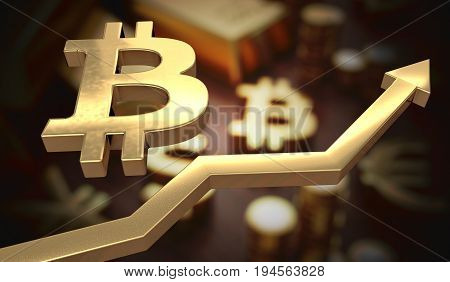 Golden Bitcoin Symbol And Arrow Up. 3D Rendered Illustration.