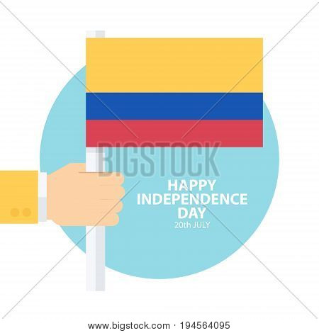 Colombia Happy Independence Day, 20 july celebration card with hand holding colombian flag. Flat design vector illustration.