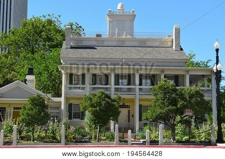 SALT LAKE CITY, UTAH - JUNE 28, 2017: Beehive House. Built in 1854 the house was the official residence of Brigham Young.