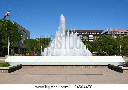 SALT LAKE CITY, UTAH - JUNE 28, 2017: Temple Square Fountain. The large fountain is between the Church Office Building and the Church Administrative Building.