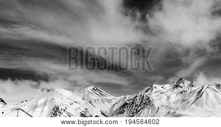 Black And White Winter Snowy Mountains In Fog