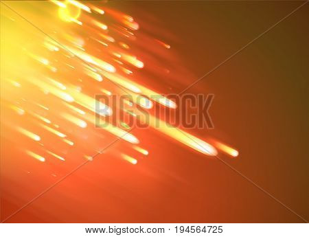 Vector illustration of orange abstract background with blurred magic neon light rays