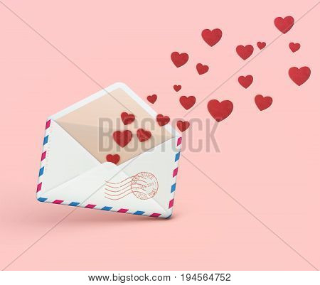 Vector illustration of love letter concept with open envelope with flying out little red hearts