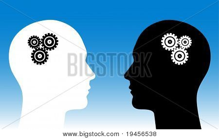 Black and white human heads