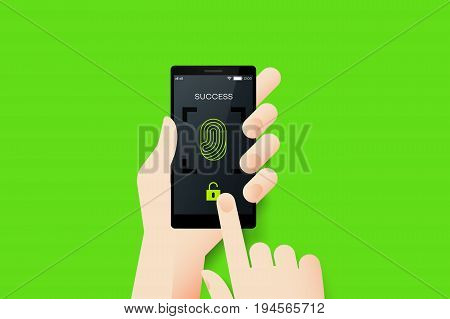 Hand Holding Smartphone With Conceptual Unlocked Fingerprint Recognition Mobile Application Interface. Material Design Vector Illustration.