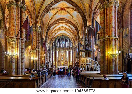 BUDAPEST HUNGARY - MAY 6: Interior of Matthias Church located in castle hill on May 6 2017 in Budapest