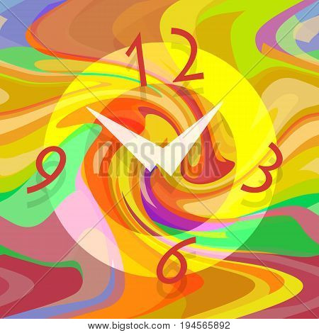 Abstract mechanical clock on liquid colorful background