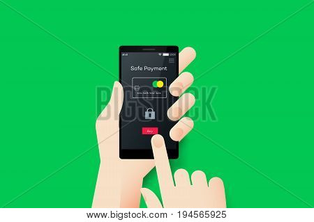 Hand Holding Smartphone With Conceptual Safe Payment Mobile Application Interface. Material Design Vector Illustration.