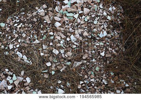 Pile Of Old Broken Roofing Tiles Closeup