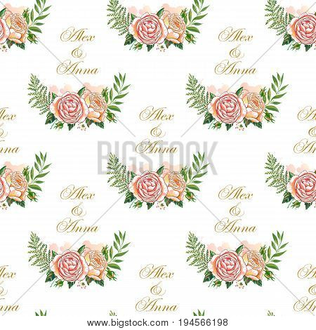Vintage wedding pattern with rustic elements. Hand drawn boho chic style design elements, watercolor, roses, flowers isolated on white background