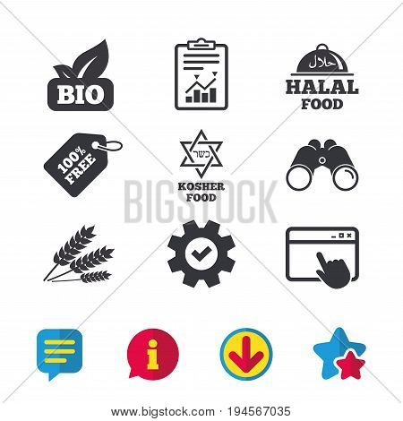 Natural Bio food icons. Halal and Kosher signs. Gluten free and star of David symbols. Browser window, Report and Service signs. Binoculars, Information and Download icons. Stars and Chat. Vector