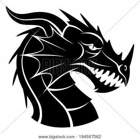 Stylized dragon head isolated on white background.