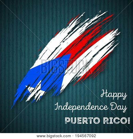 Puerto Rico Independence Day Patriotic Design. Expressive Brush Stroke In National Flag Colors On Da
