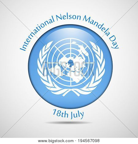 illustration of button in flag background with International Nelson Mandela Day 18th July text