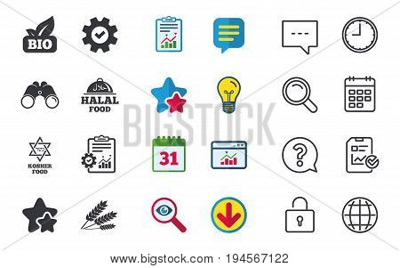 Natural Bio food icons. Halal and Kosher signs. Gluten free and star of David symbols. Chat, Report and Calendar signs. Stars, Statistics and Download icons. Question, Clock and Globe. Vector