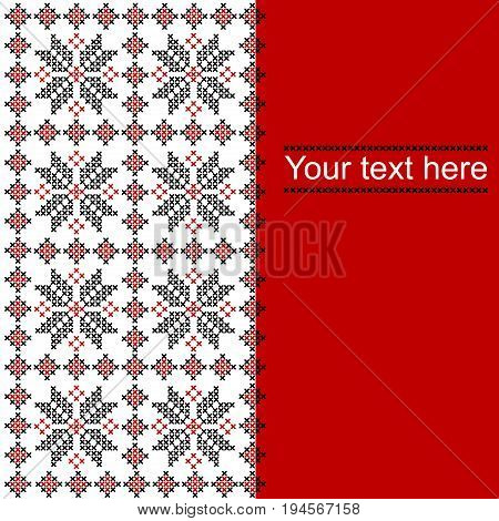 Card with ethnic ornament pattern in whitered and black colors