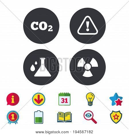 Attention and radiation icons. Chemistry flask sign. CO2 carbon dioxide symbol. Calendar, Information and Download signs. Stars, Award and Book icons. Light bulb, Shield and Search. Vector