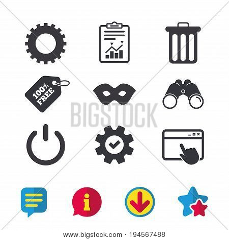 Anonymous mask and cogwheel gear icons. Recycle bin delete and power sign symbols. Browser window, Report and Service signs. Binoculars, Information and Download icons. Stars and Chat. Vector