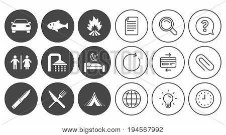 Hiking travel icons. Camping, shower and wc toilet signs. Tourist tent, fork and knife symbols. Document, Globe and Clock line signs. Lamp, Magnifier and Paper clip icons. Vector