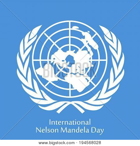 illustration of International Nelson Mandela Day text with flag background