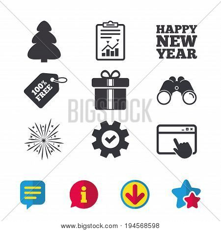 Happy new year icon. Christmas tree and gift box signs. Fireworks explosive symbol. Browser window, Report and Service signs. Binoculars, Information and Download icons. Stars and Chat. Vector