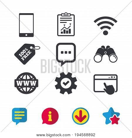 Communication icons. Smartphone and chat speech bubble symbols. Wifi and internet globe signs. Browser window, Report and Service signs. Binoculars, Information and Download icons. Stars and Chat