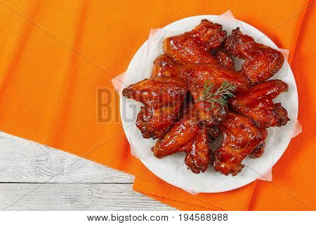 Delicious Crispy Roasted Chicken Wings On Plate