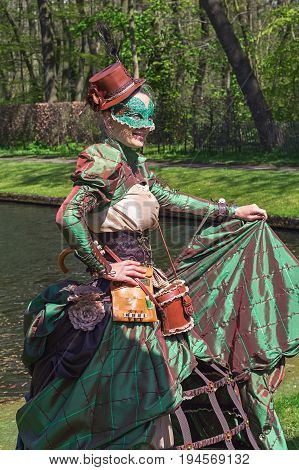 Haarzuilens, Netherlands - April 24 2016: Forest nymphs on The Elf Fantasy Fair (Elfia) an outdoor fantasy event in the Netherlands.