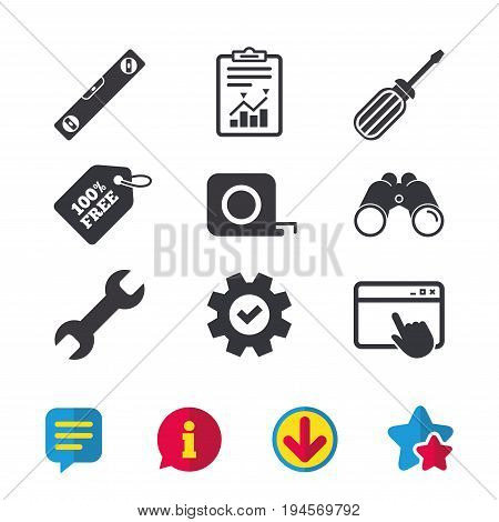 Screwdriver and wrench key tool icons. Bubble level and tape measure roulette sign symbols. Browser window, Report and Service signs. Binoculars, Information and Download icons. Stars and Chat. Vector
