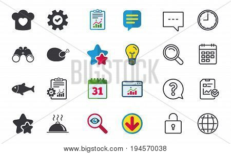 Chief hat with heart and cooking pan icons. Fish and chicken signs. Hot food platter serving symbol. Chat, Report and Calendar signs. Stars, Statistics and Download icons. Question, Clock and Globe
