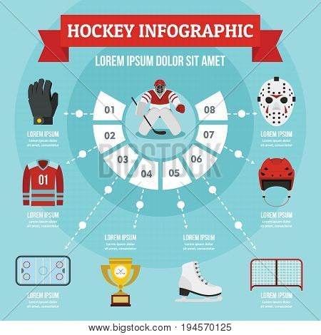 Hockey infographic banner concept. Flat illustration of hockey infographic vector poster concept for web