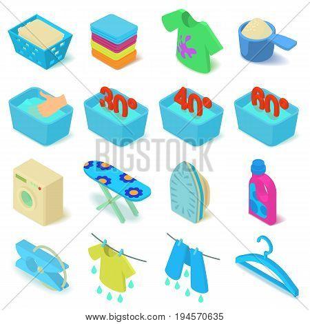 Laundry icons set. Isometric illustration of 16 laundry vector icons for web