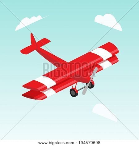 Biplane airplane isometric style colorful vector illustration