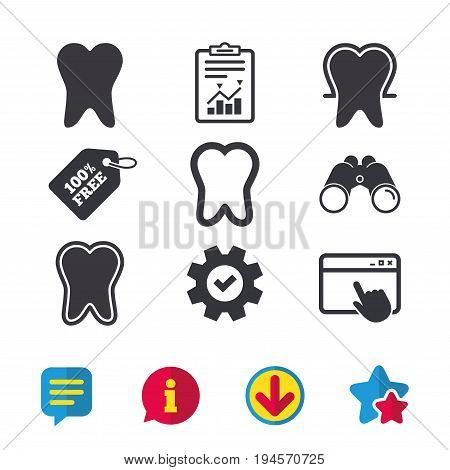 Tooth enamel protection icons. Dental care signs. Healthy teeth symbols. Browser window, Report and Service signs. Binoculars, Information and Download icons. Stars and Chat. Vector