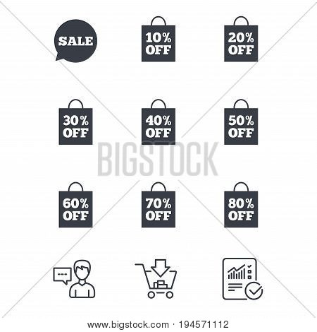 Sale discounts icons. Special offer signs. Shopping bag, price tag symbols. Customer service, Shopping cart and Report line signs. Online shopping and Statistics. Vector
