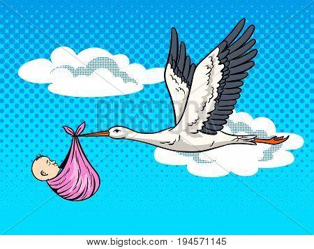 Stork bird brings baby pop art retro vector illustration. Birth metaphor. Comic book style imitation.