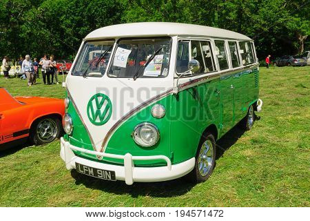 Llangollen Wales UK - July 1 2017: Volkswagen Type 2 split screen camper van or microbus a classic German utility vehicle built from 1950 and 1967 at a vintage vehicle rally