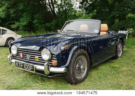 Llangollen Wales UK - July 1 2017: Triumph TR5 convertible a classic British two seat sports car or roadster built from 1967 to 1968 at a vintage vehicle rally
