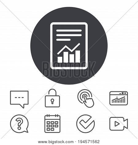 Text file sign icon. Add File document with chart symbol. Accounting symbol. Calendar, Locker and Speech bubble line signs. Video camera, Statistics and Question icons. Vector